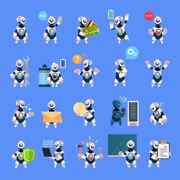 Robots set different cyborg collection concept tecnologia de inteligência artificial moderna Vetor Premium