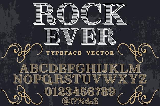 Rocha de estilo gráfico de fonte vintage já Vetor Premium