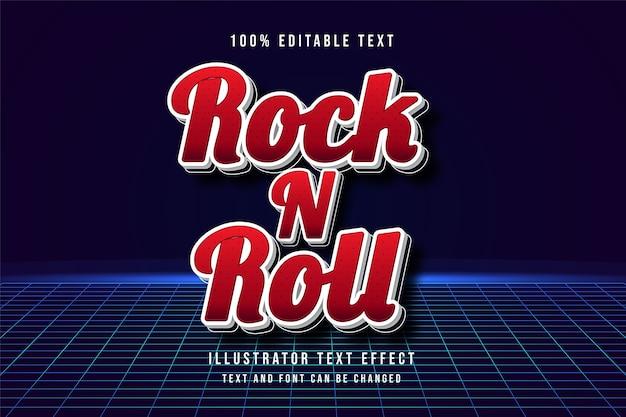 Rock n roll, efeito de texto editável em 3d com padrão de gradação vermelho estilo de sombra moderno Vetor Premium