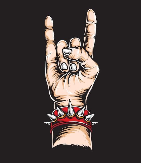 Rock n roll mão Vetor Premium
