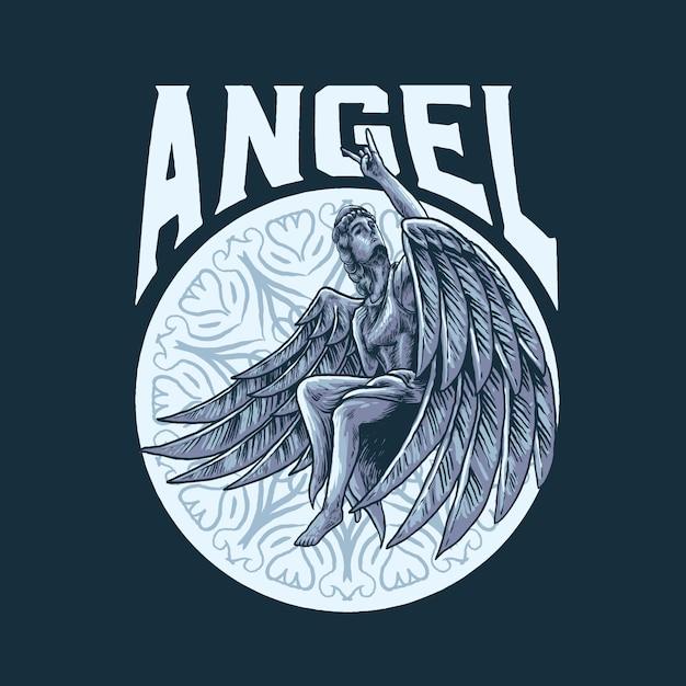 Rock na ilustração de anjo Vetor Premium
