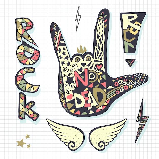 Rock não morto, silhueta de sinal de mão, modelo de grunge para impressão de música ou adesivos Vetor Premium