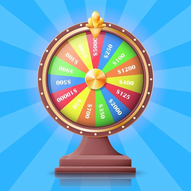 Roda da fortuna com ilustração do vetor dos entalhes dos prêmios do dinheiro. maneira fácil de ganhar dinheiro. Vetor Premium