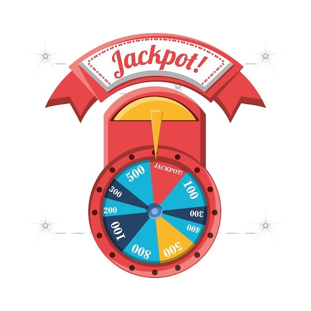 Roda da fortuna com sinal de jackpot Vetor Premium