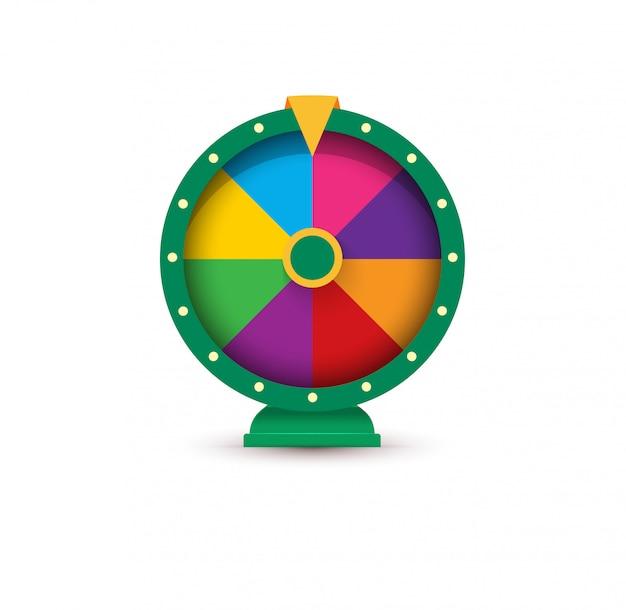 Roda da fortuna, conceito de logotipo de jogo. Vetor Premium