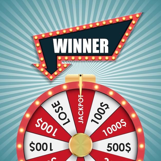 Roda da fortuna, ilustração de sorte Vetor Premium