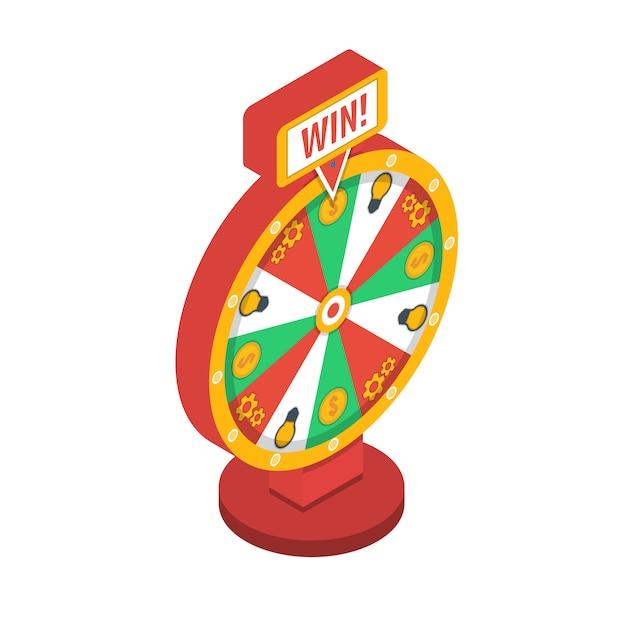 Roda da fortuna isométrica Vetor Premium
