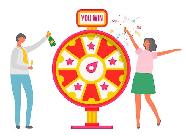 Roda da fortuna pessoas comemorando a vitória Vetor Premium