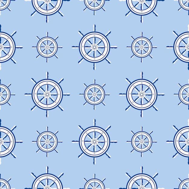 Roda de barco marinho do teste padrão sem emenda do leme do navio. vector iate barco navegação com silhueta de volante ilustração Vetor Premium