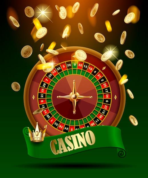 Roda de cassino com fita verde e coroa sob chuva de dinheiro ouro Vetor Premium