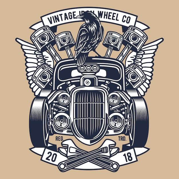 Roda de ferro vintage Vetor Premium