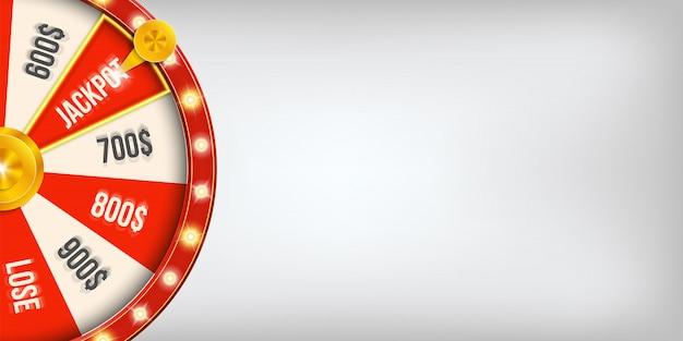 Roda de jackpot de giro de jogo do casino da fortuna 3d. Vetor Premium