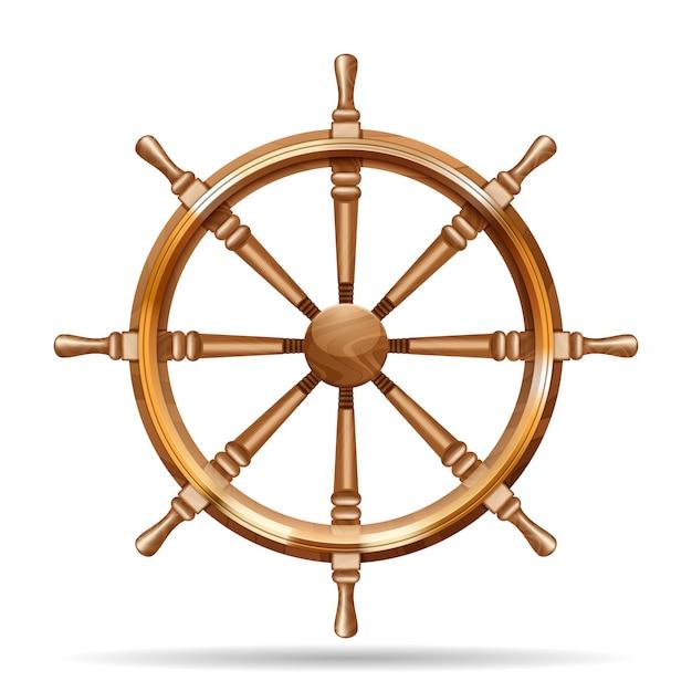 Roda de navio antigo de madeira Vetor grátis