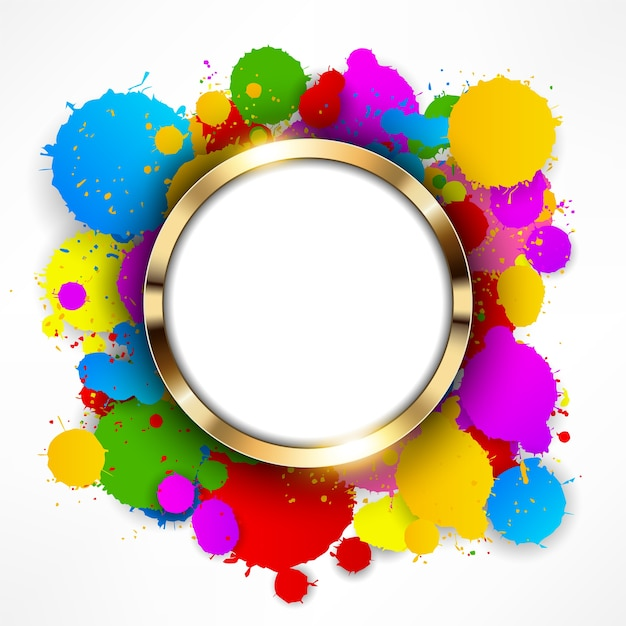 Rodada anel de ouro sobre fundo colorido salpicos Vetor Premium