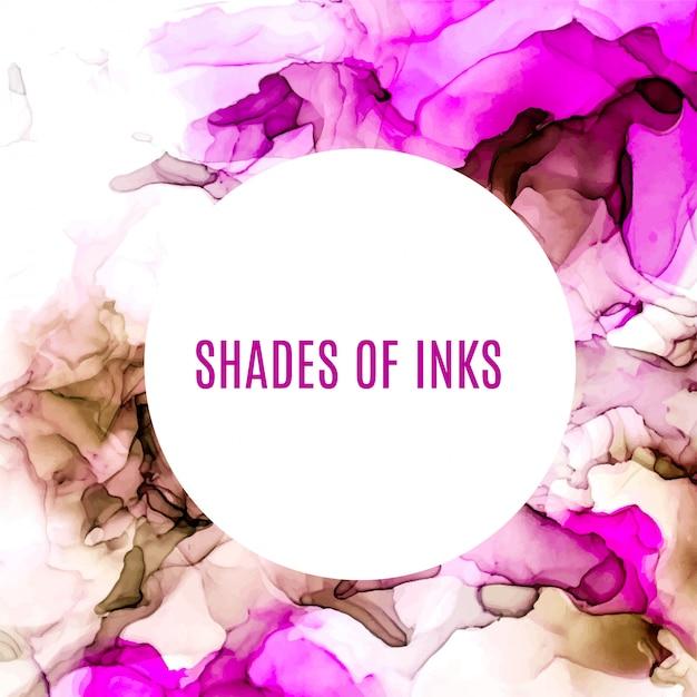 Rodada banner, tons de roxo e rosa fundo aquarela, líquido molhado, mão desenhada textura aquarela de vetor Vetor Premium
