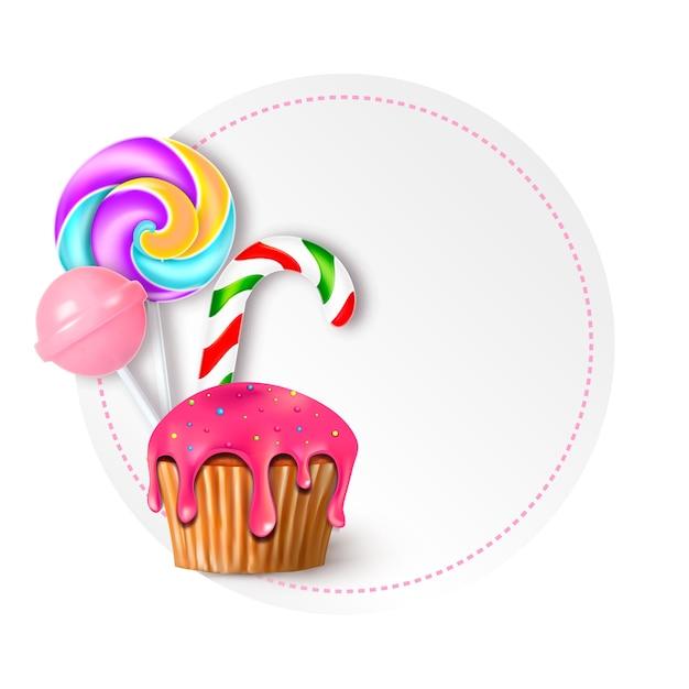 Rodada de ilustração vetorial com doces, doces e pirulitos Vetor Premium