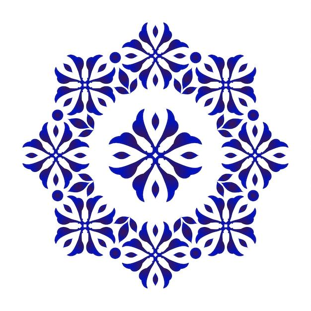 Rodada decorativa floral azul Vetor Premium