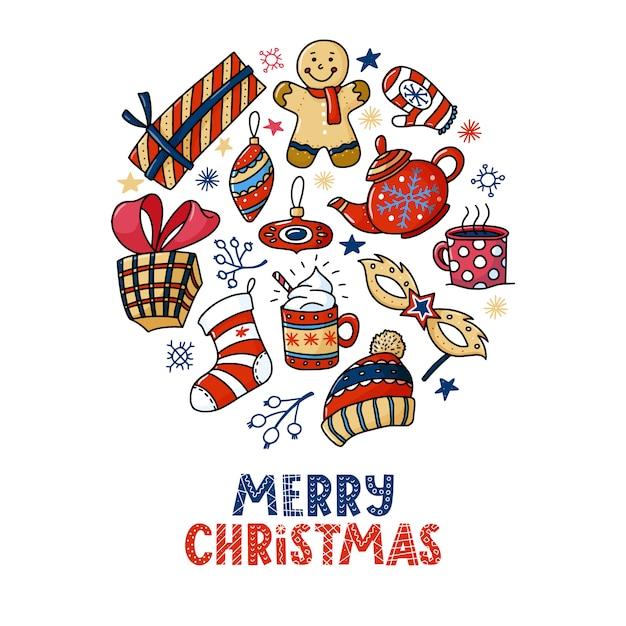 Rodada design de cartão de saudação de natal com texto e rabiscos Vetor Premium