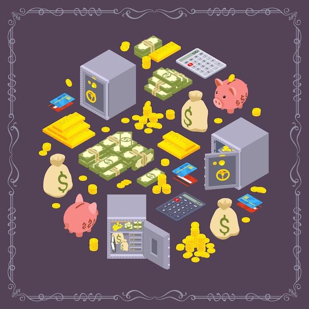 Rodada design de decoração feita de objetos relacionados a finanças Vetor Premium