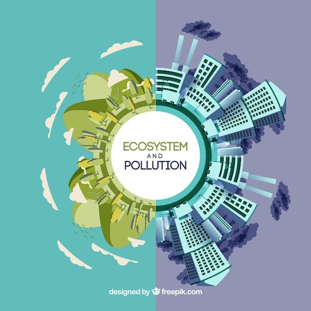 Rodada ecossistema e conceito de poluição Vetor grátis