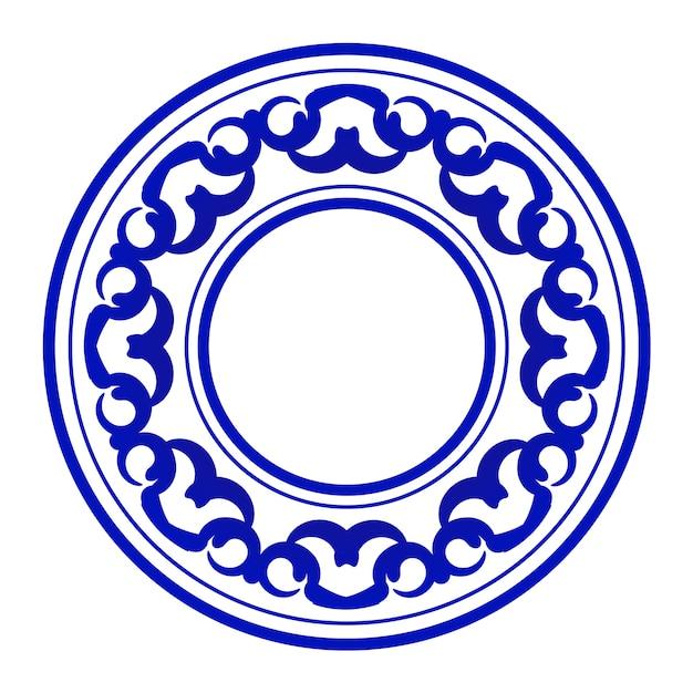 Rodada ornamental azul Vetor Premium