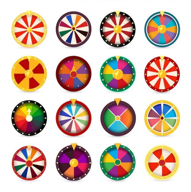 Rodas da fortuna. jogo de jogos logotipo definido. Vetor Premium