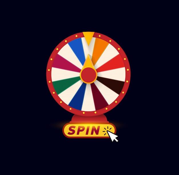 Rodas da fortuna. logotipo de jogos de azar. Vetor Premium