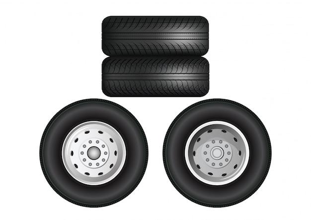 Rodas de caminhão empilhadas. Vetor Premium