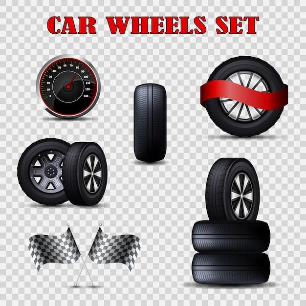 Rodas de carro de vetor conjunto de pneus planas e velocímetro. Vetor Premium
