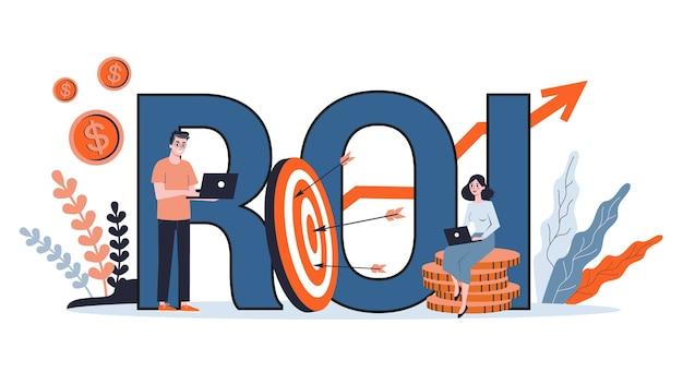 Roi ou conceito de retorno do investimento. ideia de finanças, lucro e economia. riqueza financeira. ilustração dos desenhos animados Vetor Premium