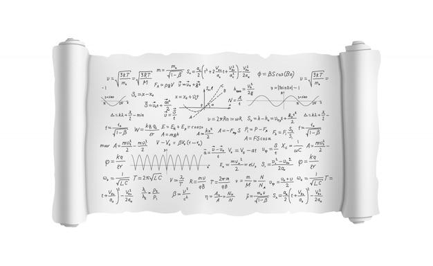 Rolar com fórmulas científicas Vetor Premium
