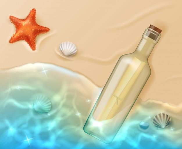 Role na garrafa de vidro com cortiça na praia Vetor Premium
