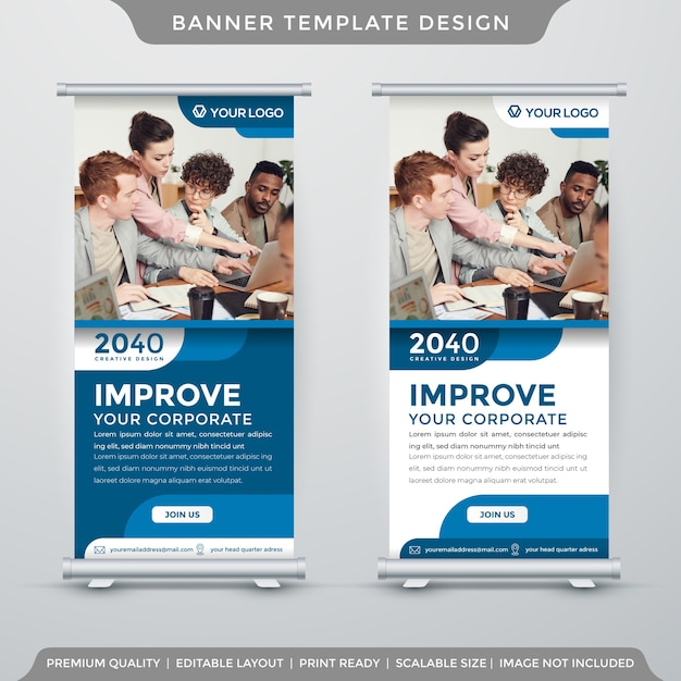 Roll banner display template premium style Vetor Premium