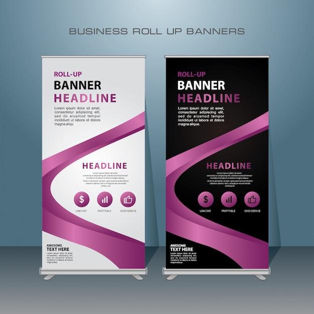 Roll up banner design moderno com cor roxa Vetor Premium
