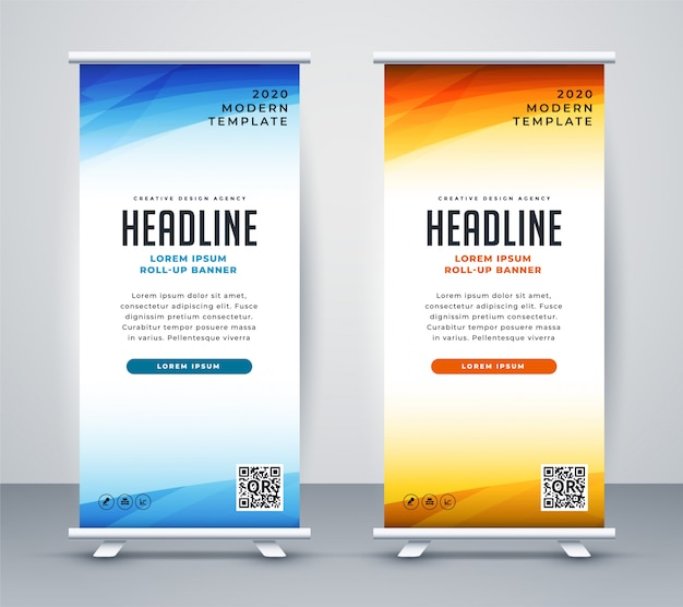 Roll-up profissional ficar design de modelo de banner Vetor grátis