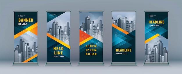 Roll up set. design de standee. modelo de banner, triângulo geométrico Vetor Premium