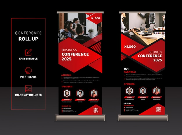 Rollup de conferência de negócios ou xbanner Vetor Premium