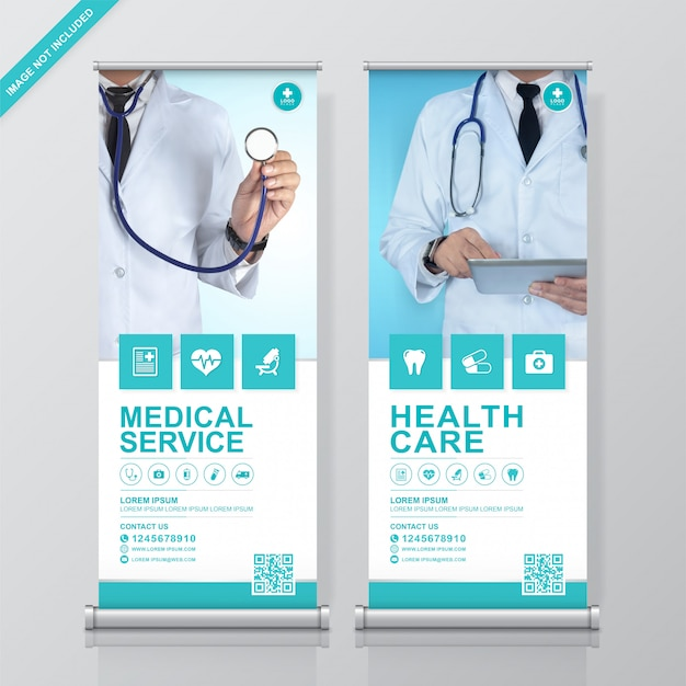 Rollup de saúde e médica e modelo de design de standee Vetor Premium