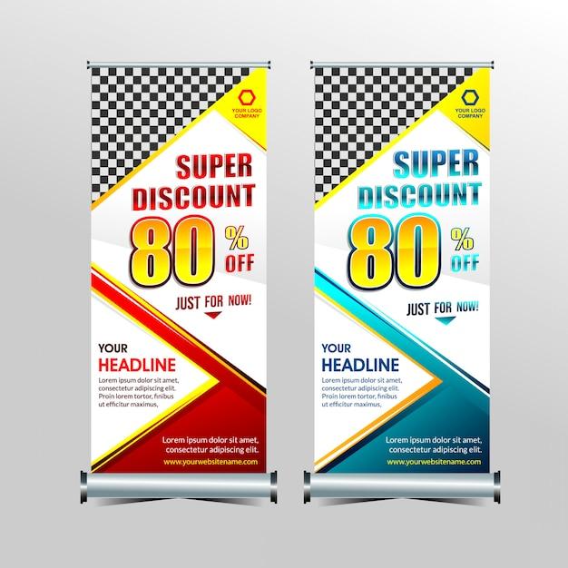 Rollup ou em pé x-banner modelo super oferta especial venda conjunto de desconto Vetor Premium
