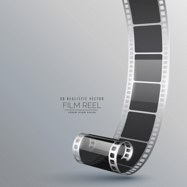 Rolo de filme 3d realista no fundo cinzento Vetor grátis