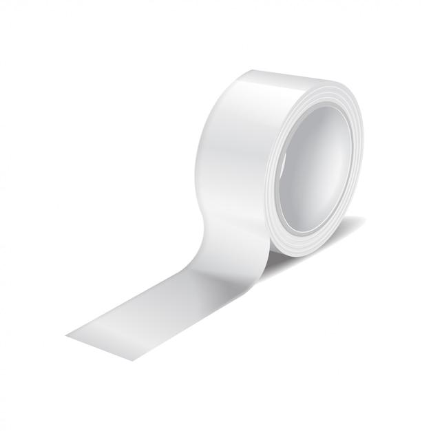 Rolo de fita adesiva branca. modelo realista de rolo de fita adesiva, fita adesiva Vetor Premium
