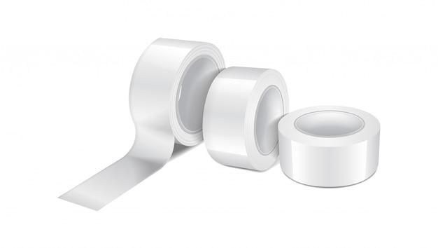 Rolo de fita adesiva brilhante branco. conjunto de modelo realista de fita adesiva, rolo de fita adesiva Vetor Premium