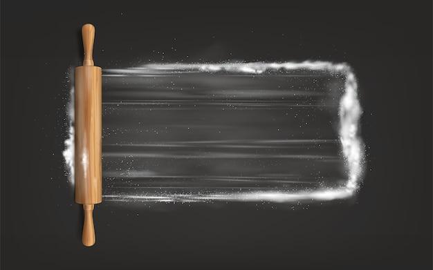 Rolo de massa na mesa com farinha Vetor grátis