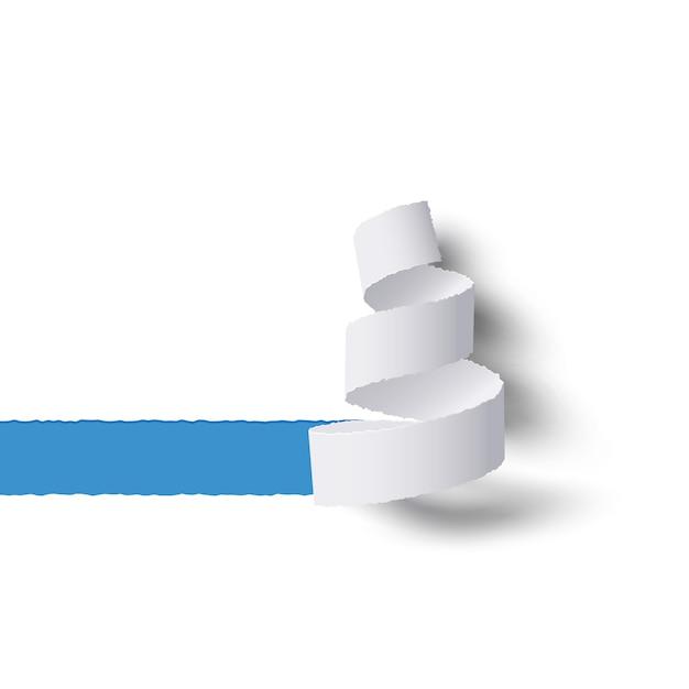 Rolo de papel branco rasgado com sombras, espaço de cópia azul para tex Vetor Premium