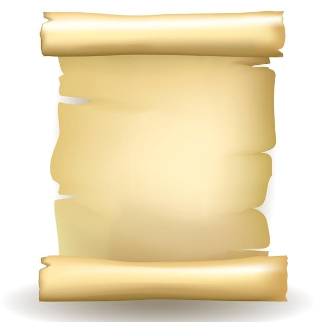 Rolo de papel envelhecido envelhecido em branco de vetor antigo com coloração amarelada e bordas rasgadas Vetor grátis