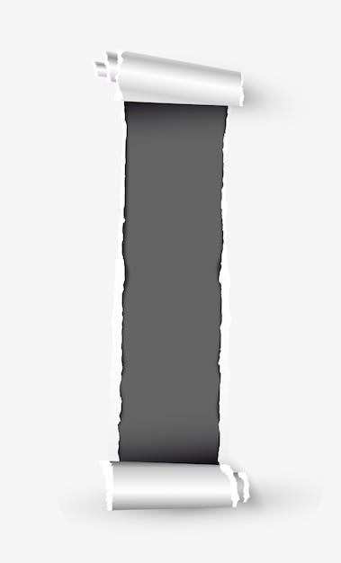 Rolo de papel rasgado branco com espaço para texto Vetor Premium
