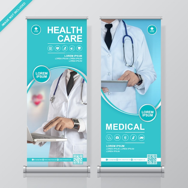 Rolo de saúde e médico e modelo de design de banner de standee Vetor Premium