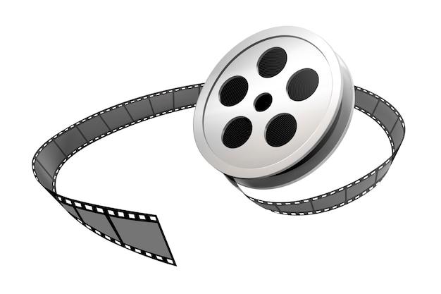 Rolo e tira de filme prateado em fundo branco Vetor Premium