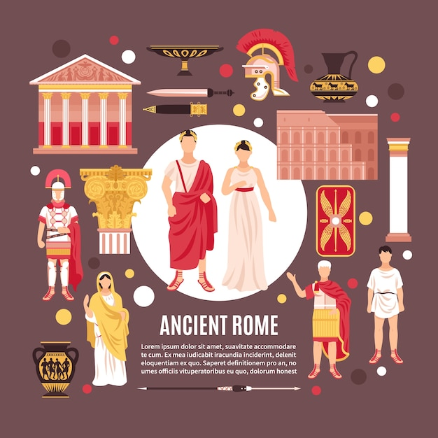 Roma antiga cidadãos cultura arquitetura monumentos históricos composição plana pôster Vetor grátis