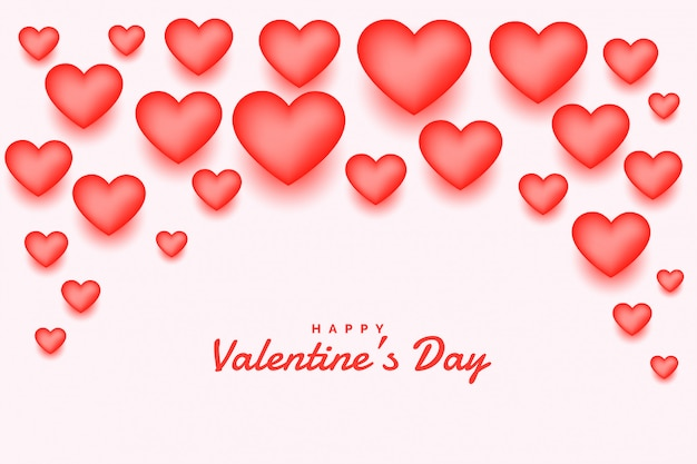 Rosa 3d corações feliz dia dos namorados cartão Vetor grátis